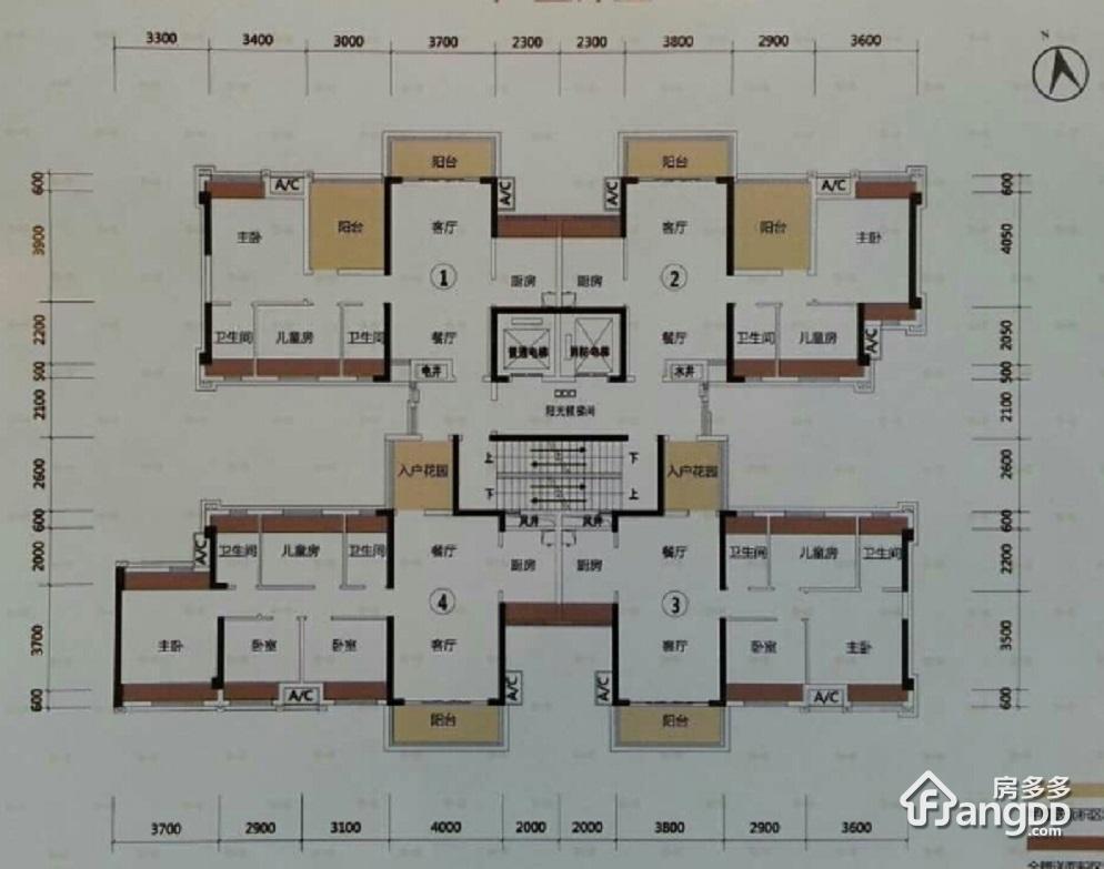 套房平面设计图四室二厅一厨二卫