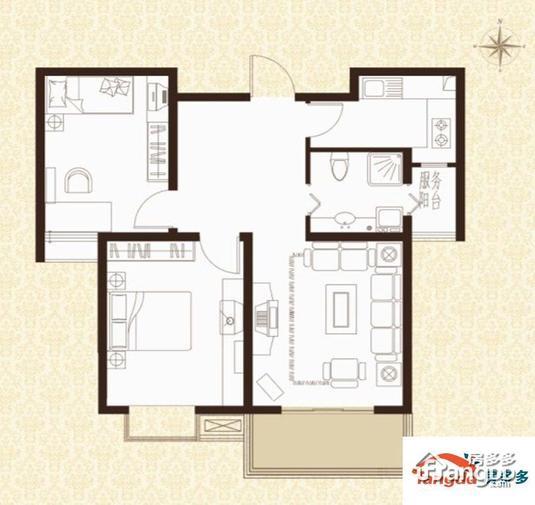 户型解析: 华西格林春天小高层一梯三户f户型2室2厅