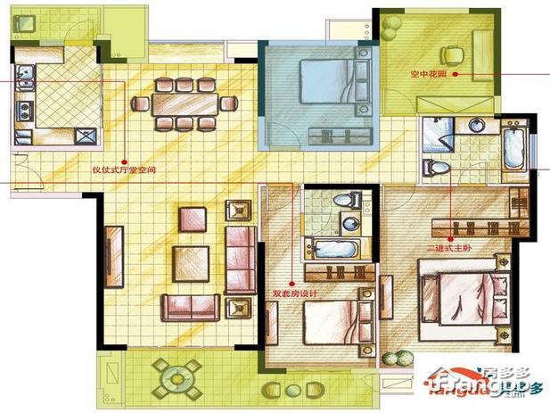 户型平面图 星河国际4室2厅2卫1厨e户型户型 160平米