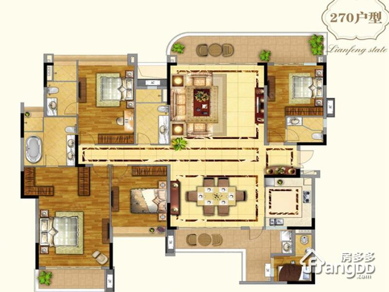 奥园莲峰圣境5室2厅4卫户型图