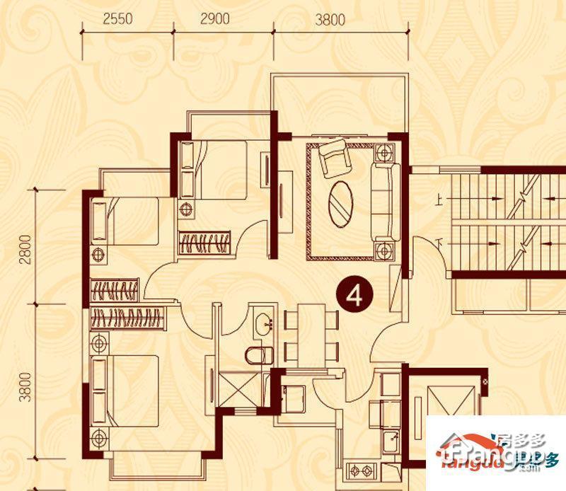 贵阳恒大城3室2厅1卫户型图