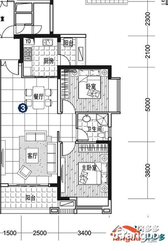 中天未来方舟2室2厅1卫户型图