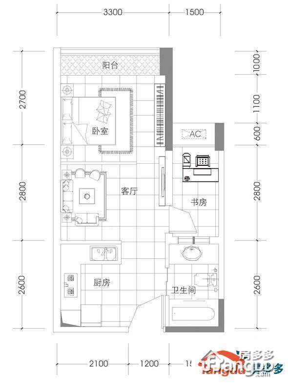 中天未来方舟2室1厅1卫户型图