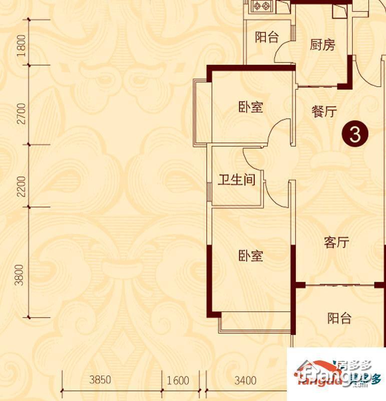 贵阳恒大城2室2厅1卫户型图