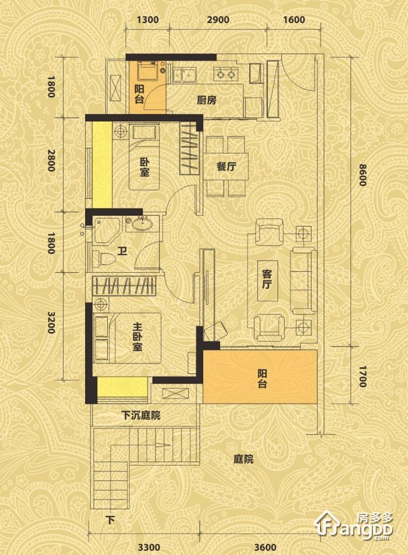 佳兆业东江新城2室2厅1卫户型图