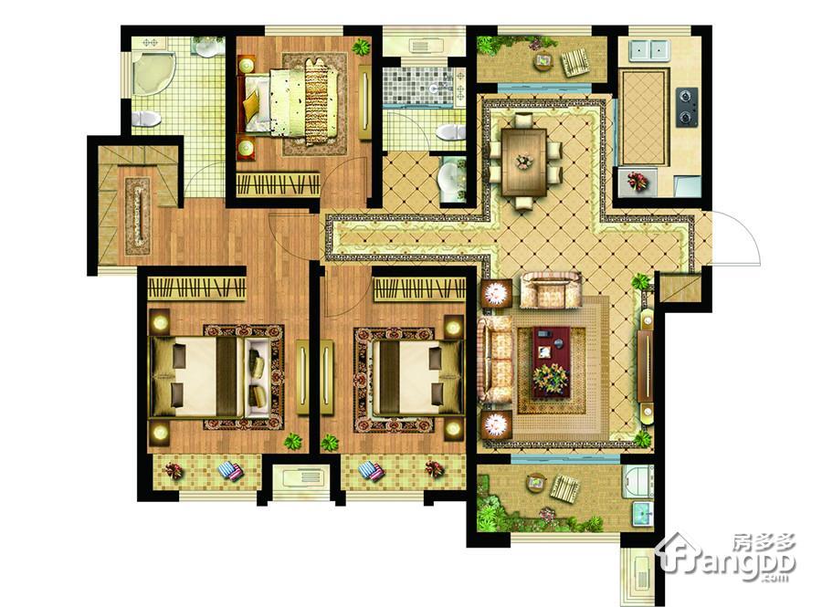 无锡科技城(协信未来城)3室2厅2卫户型图