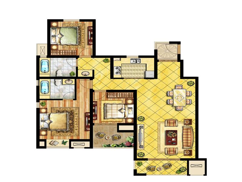 中锐星尚城3室2厅2卫户型图