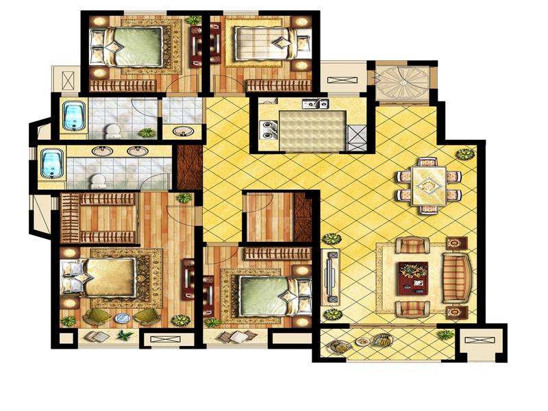 中锐星尚城4室2厅2卫户型图