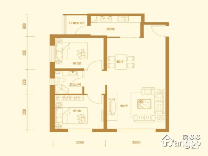 明发广场2室2厅1卫户型图