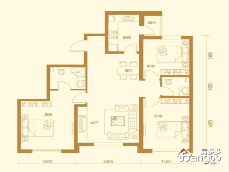 明发广场3室2厅2卫户型图