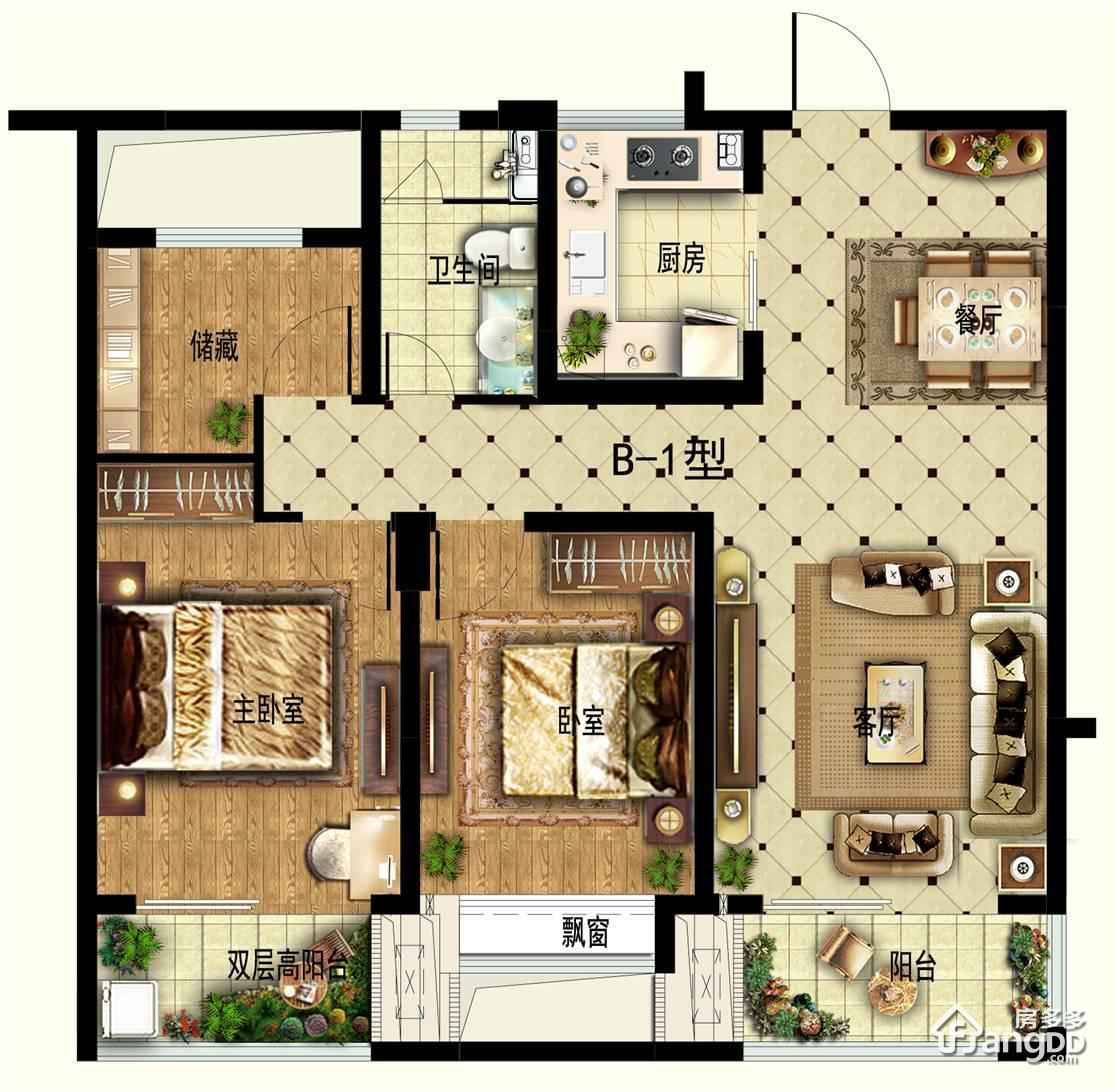 华安观澜盛世3室2厅1卫户型图
