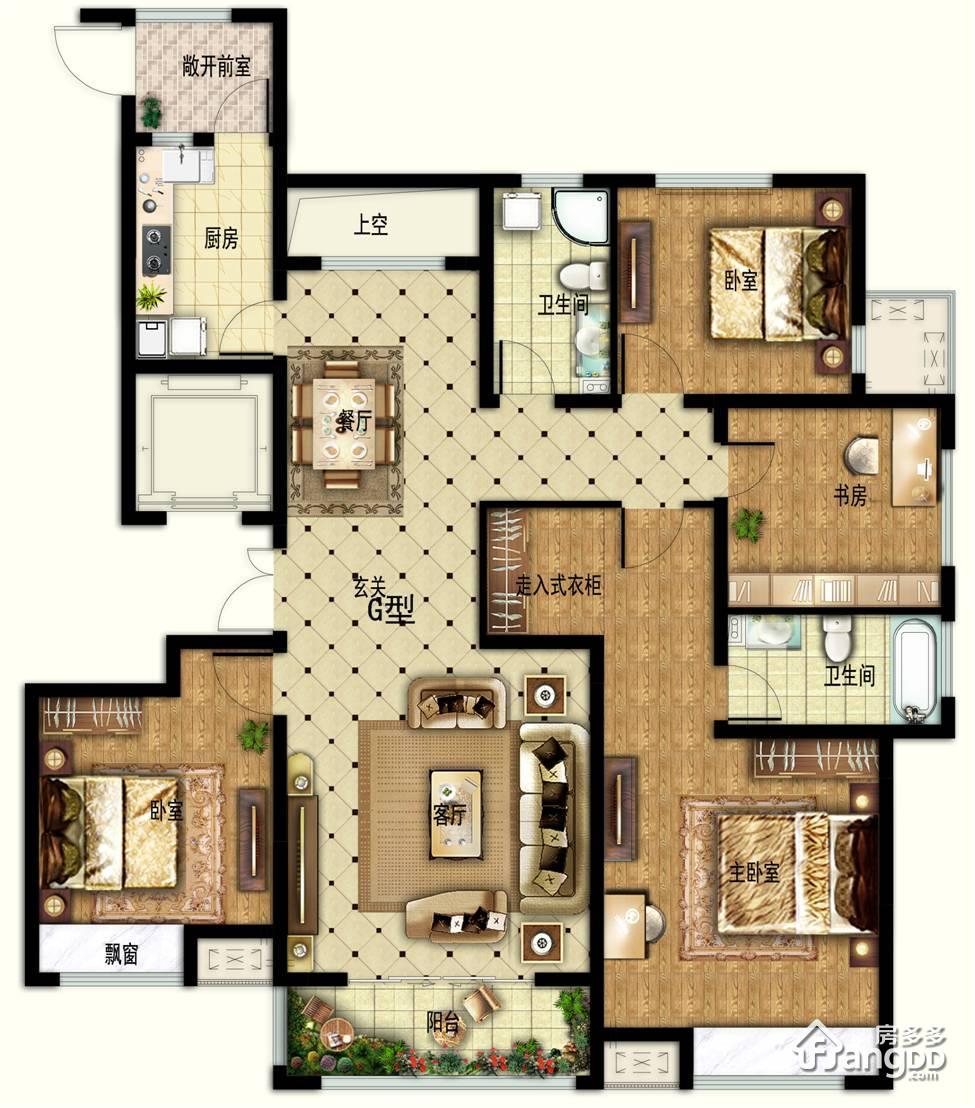 华安观澜盛世4室2厅2卫户型图