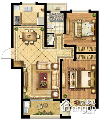 无锡科技城(协信未来城)2室2厅1卫户型图