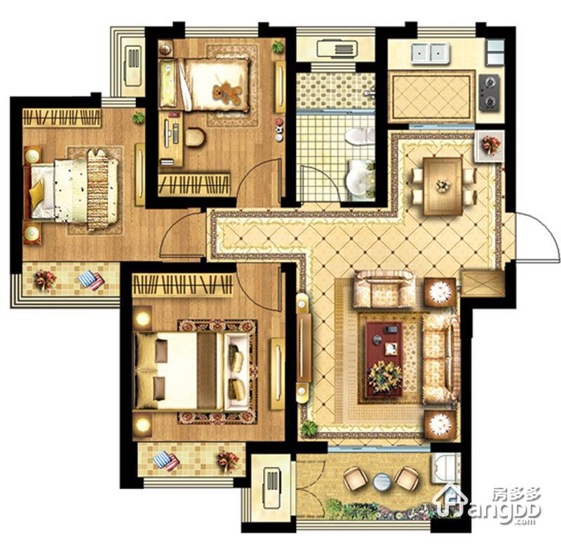 无锡科技城(协信未来城)3室2厅1卫户型图