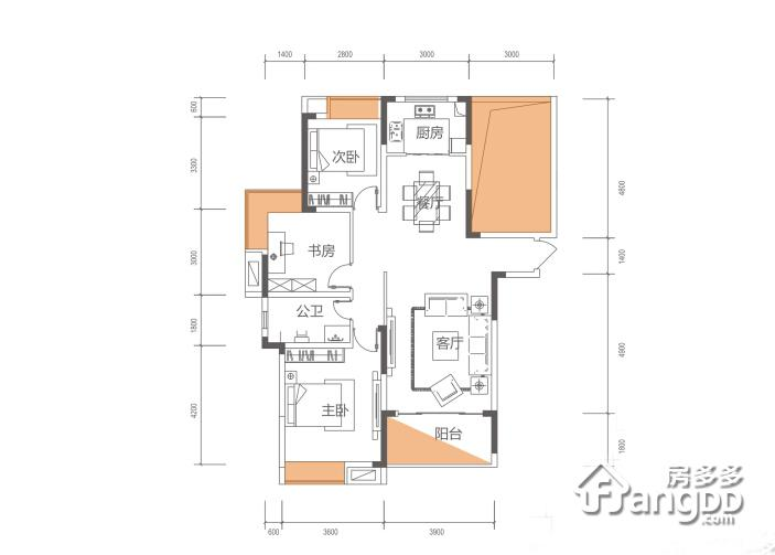 合一中央城3室2厅1卫户型图