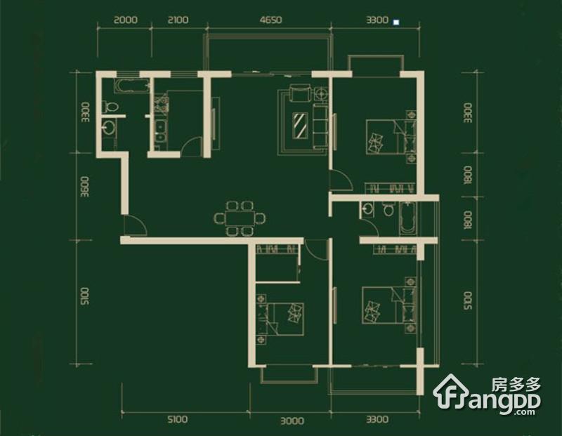 水榭春天3室2厅2卫户型图