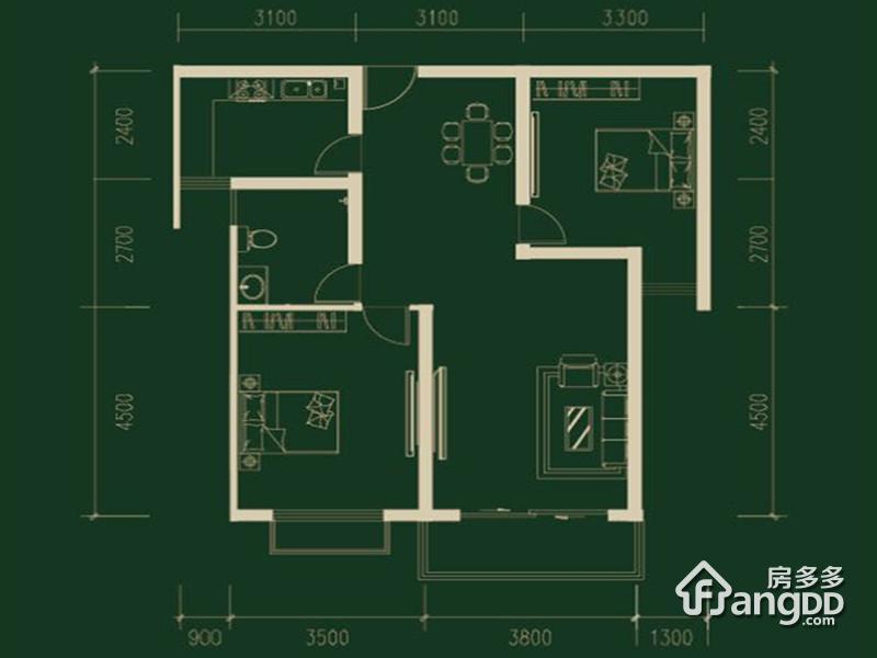 水榭春天2室2厅1卫户型图