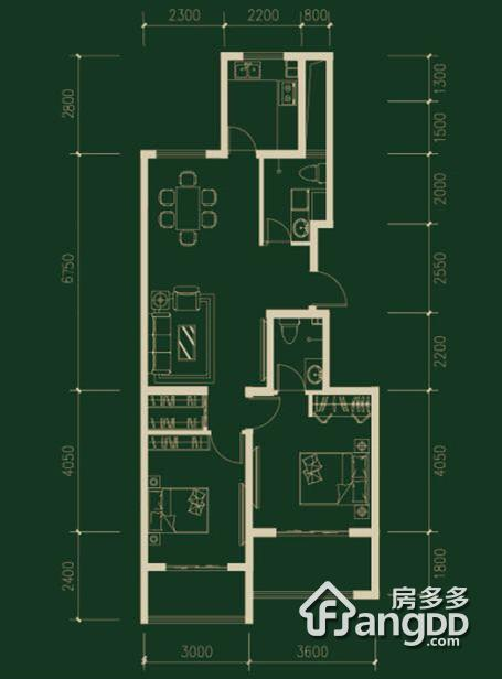 水榭春天2室2厅2卫户型图