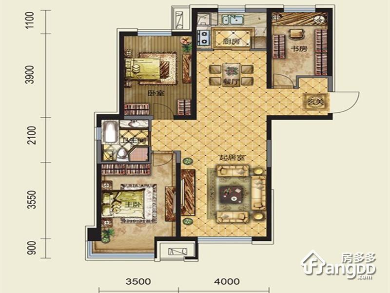 保利大都会3室2厅1卫户型图