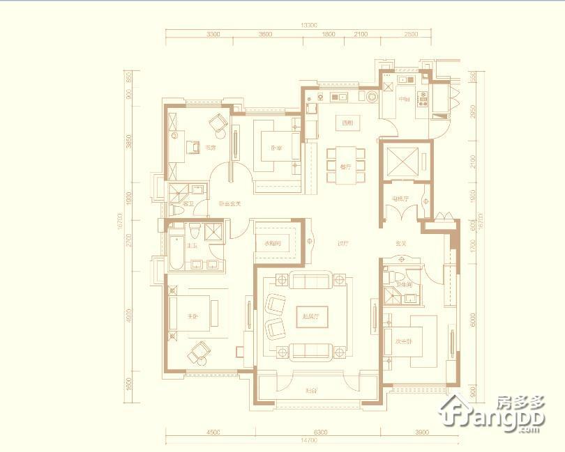 首开琅樾4室3厅3卫户型图
