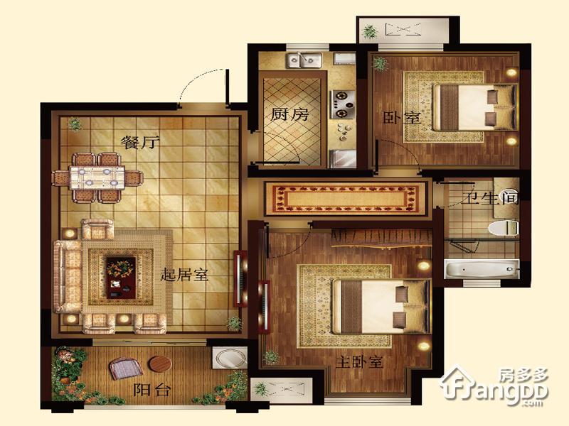 边城香榭里8号2室2厅1卫户型图