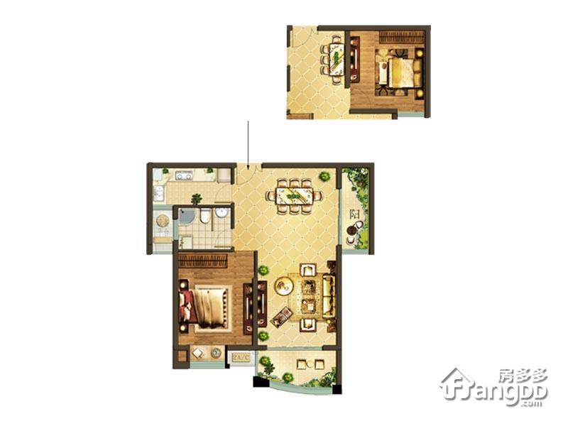 德辉天玺湾1室2厅1卫户型图