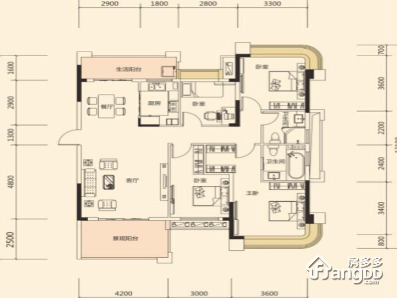 明昇壹城4室2厅2卫户型图