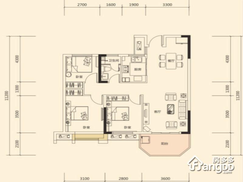 明昇壹城3室2厅1卫户型图