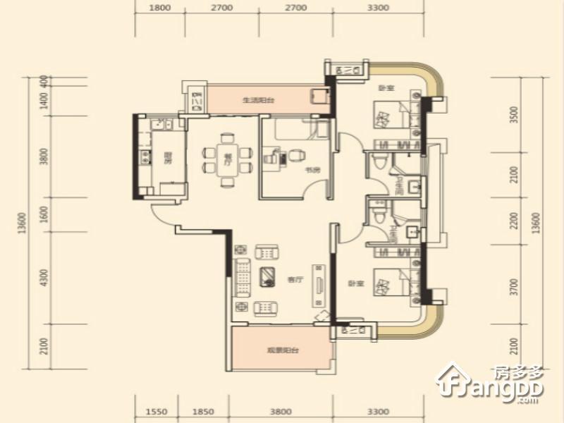 明昇壹城3室2厅2卫户型图