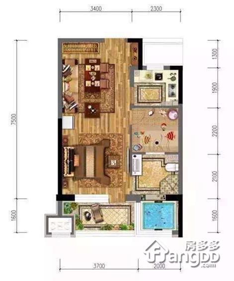 牛驼温泉孔雀城1室1厅1卫户型图
