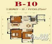 美好易居城3室2厅1卫户型图