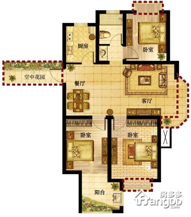 钱江绿洲3室2厅1卫户型图