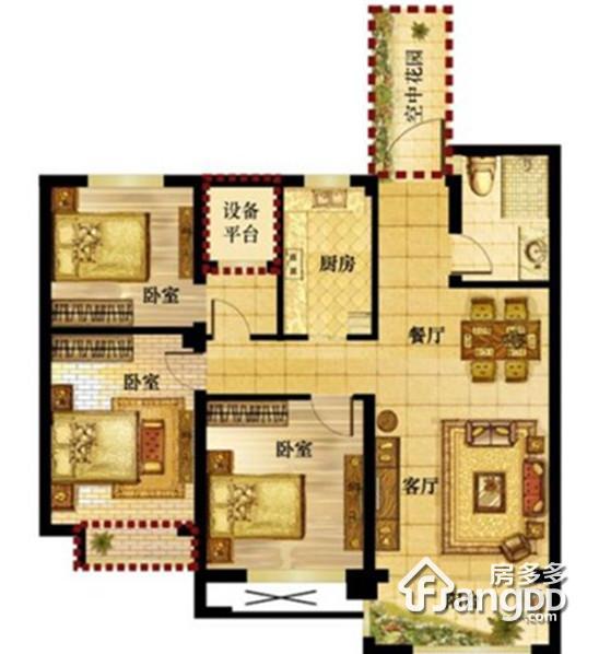钱江绿洲2室2厅1卫户型图