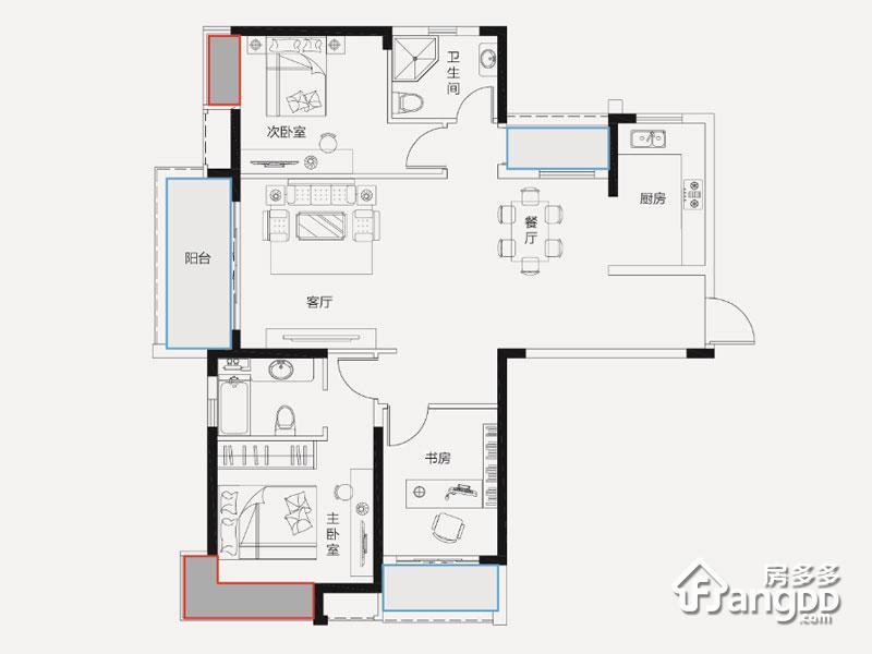 建华玖珑湾3室2厅2卫户型图
