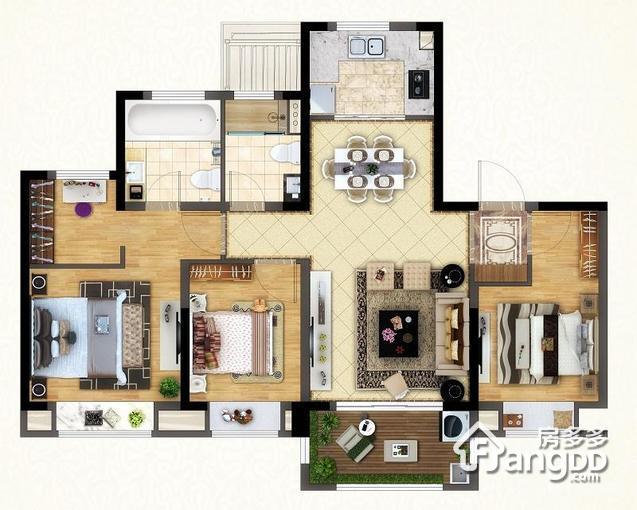 花园洋房127平 3室2厅2卫127㎡