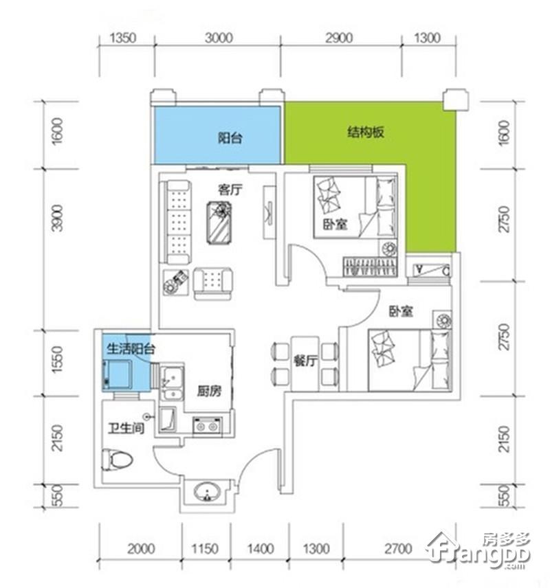 山湖海2室2厅1卫户型图