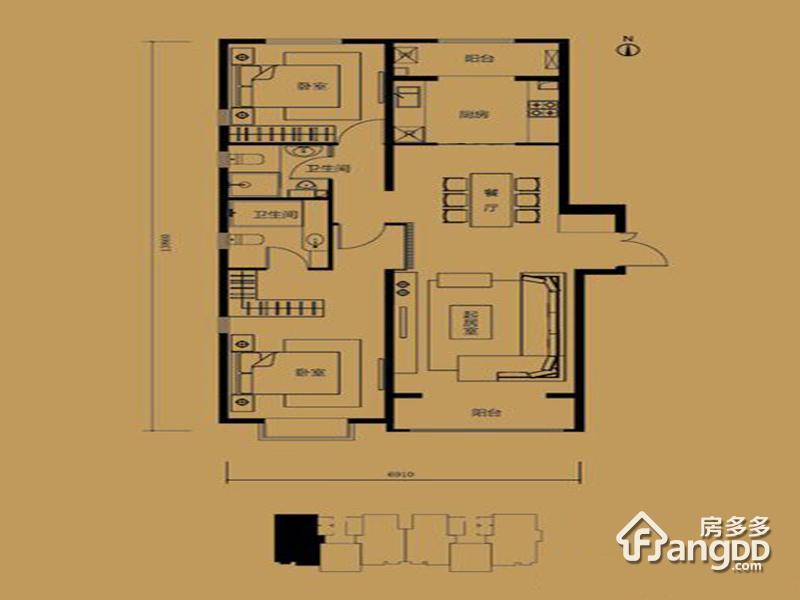 利锦府2室2厅2卫户型图