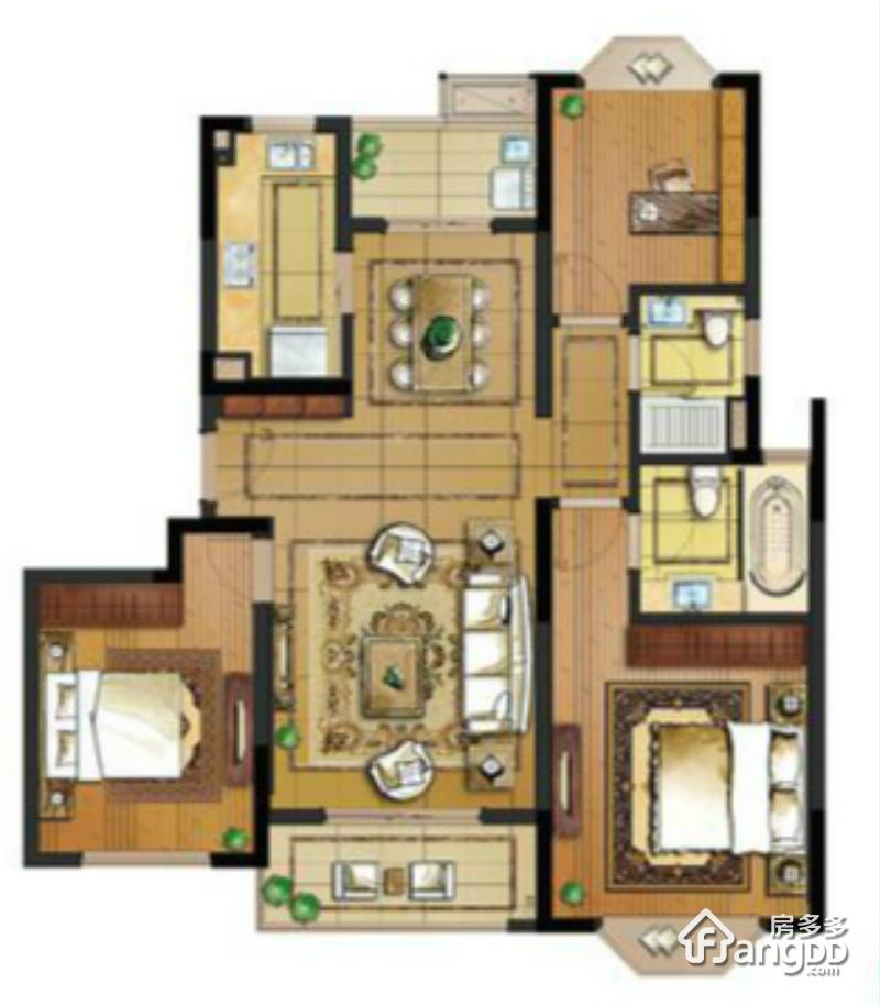 118户型 3室2厅2卫118㎡