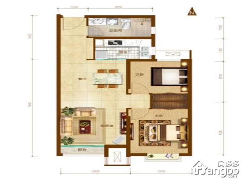 路劲太阳城2室2厅1卫户型图