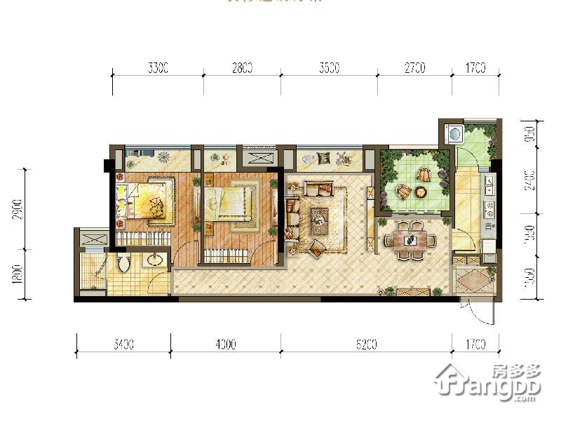 中交中央公园2室2厅1卫户型图