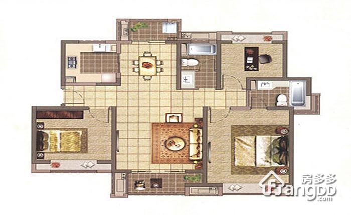 C户型 3室2厅2卫126㎡