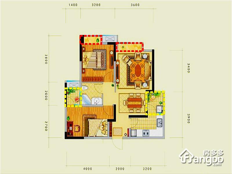 中铁天宏康郡2室2厅1卫户型图