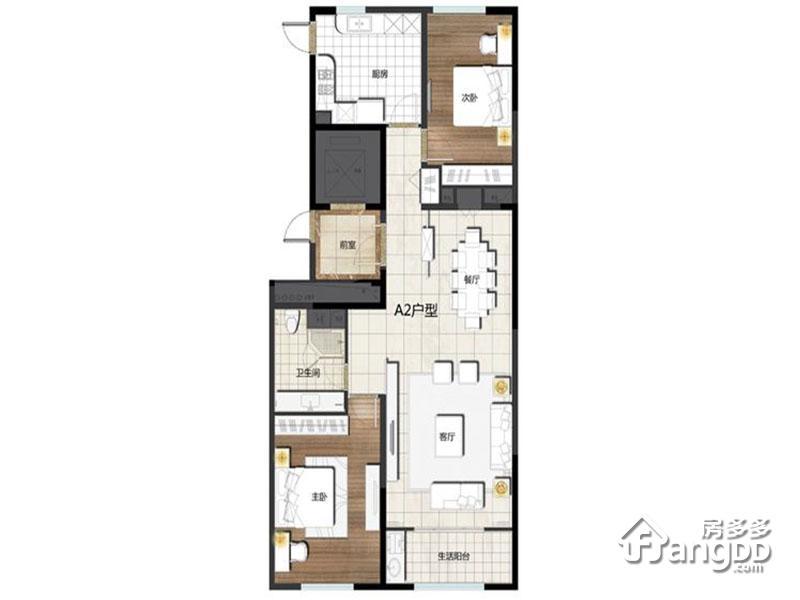 卓信E·H·O国际社区2室2厅1卫户型图