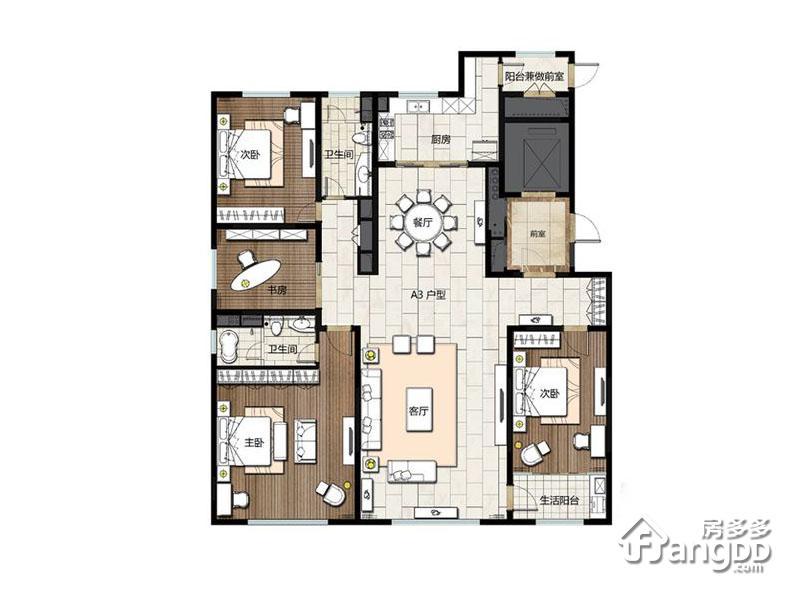 卓信E·H·O国际社区4室2厅2卫户型图