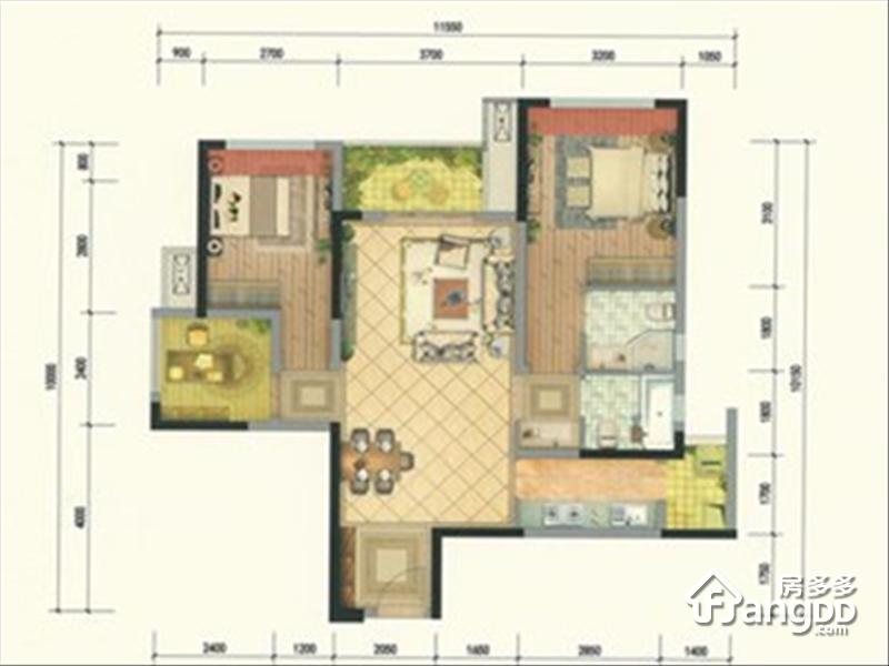 重庆融创万达文化旅游城3室2厅2卫户型图