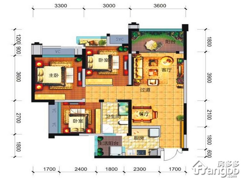 远大中央公园3室2厅1卫户型图