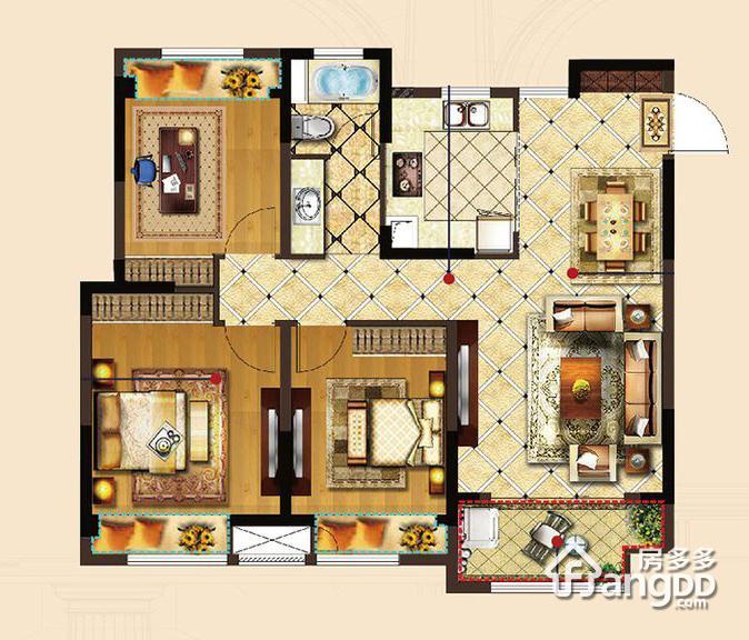 华建A.R.T上院3室2厅1卫户型图