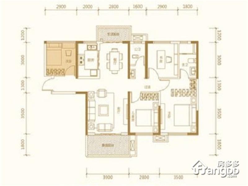 新华联梦想城3室2厅2卫户型图