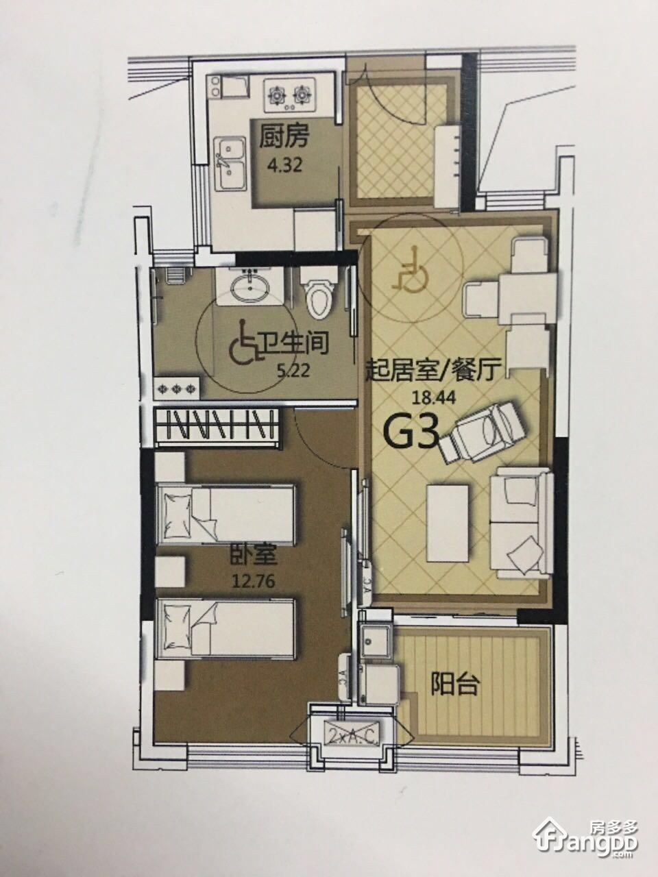 G3 1室1厅1卫58㎡