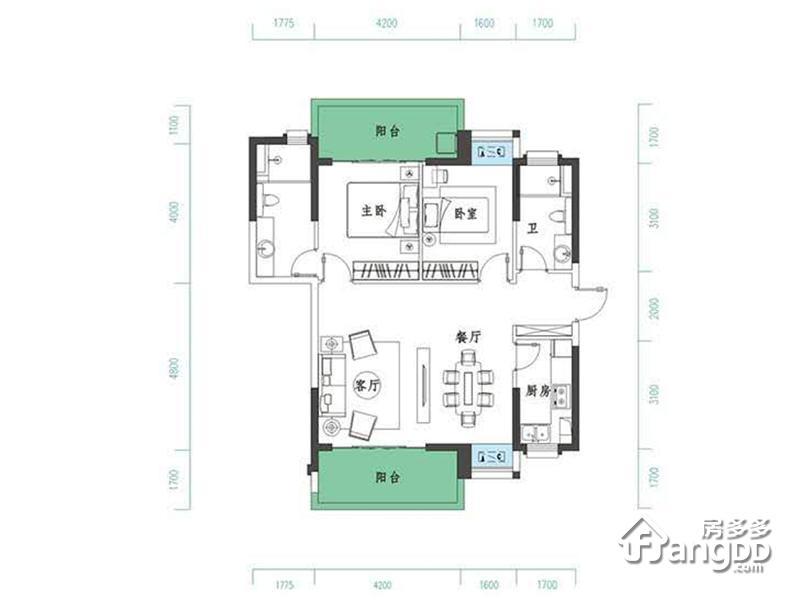 千江悦2室2厅2卫户型图